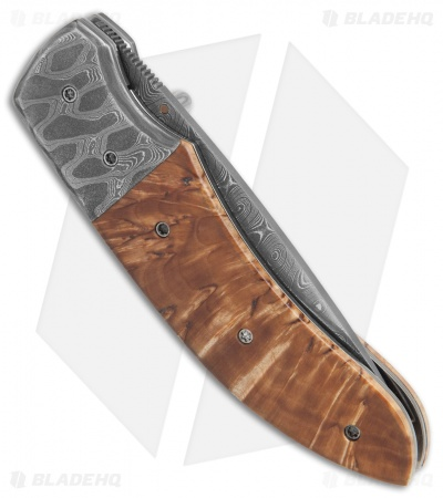 "Butch Ball Custom Liner Lock Knife Damascus/Masur Birch (3.4"" Damascus)"