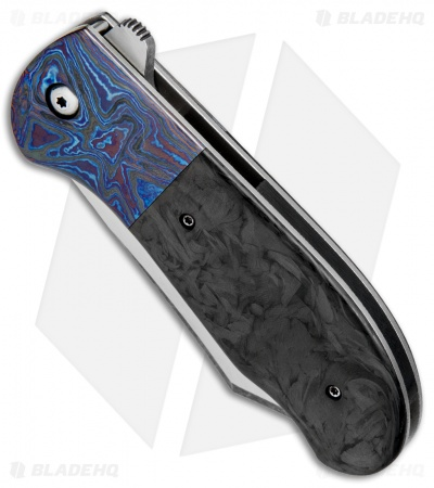 "Chuck Gedraitis Large Puffin Flipper Knife Marbled CF/Timascus (3.5"" Two-Tone)"