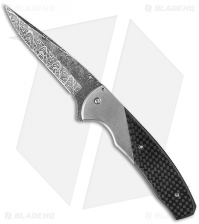 "Chuck Gedraitis Slim Rude Boy Flipper Knife Ti/CF (3.25"" Damascus)"