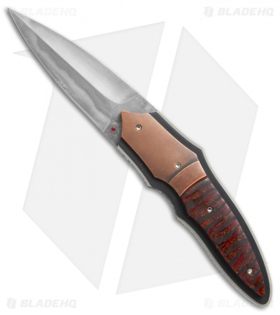 "Corrie Schoeman X-Plain Flipper Knife Red Stabilized Pod (2.75"" Hamon)"