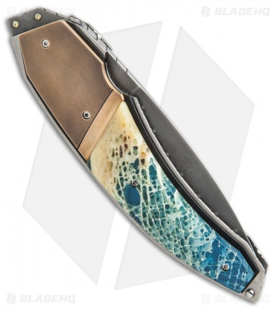 "Corrie Schoeman Panerai Flipper Knife Resin Impregnated Bone (3.25"" Hamon)"