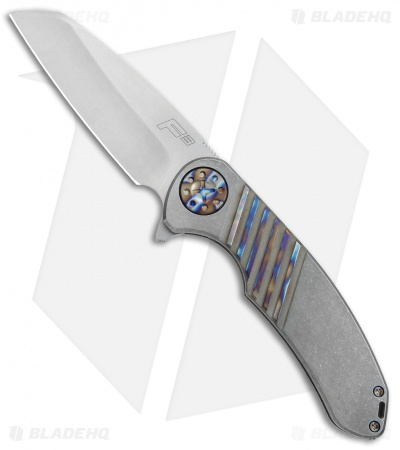 "Curtiss Knives Custom F3 Large Wharncliffe Knife Flamed Slide Mill Ti (3.6"" SW)"