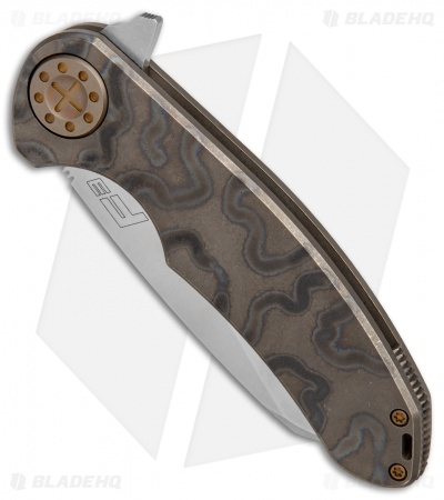 "Curtiss Knives F3 Large Wharncliffe Frame Lock Knife Torched Ti (3.7"" Stonewash)"