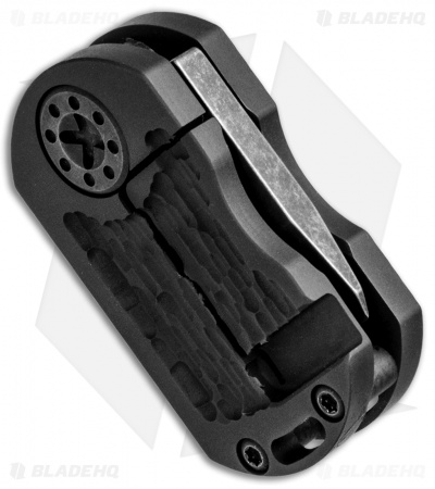 "Curtiss Knives ODT Frame Lock Knife Jigged Black Titanium (1"" Black Stonewash)"