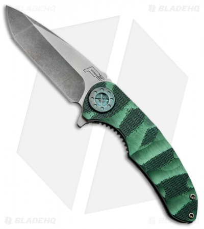 "Curtiss Knives F3 Knife Knurled Green Titanium Flipper (3.5"" Stonewash) M5"