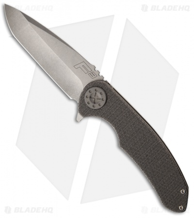"Curtiss Knives F3 Knife Knurled Titanium Flipper Folder (4"" Stonewash Plain)"