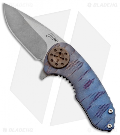 "Curtiss Knives F3 Compact Blue Ti Flipper Folder (2.31"" Stonewash)"