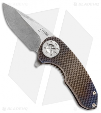 "Curtiss Knives F3 Compact Knife Knurled Heat Anodized Titanium (2.31"" Stonewash)"