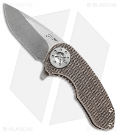 "Curtiss Knives F3 Compact Knife Knurled Titanium (2.31"" Stonewash)"