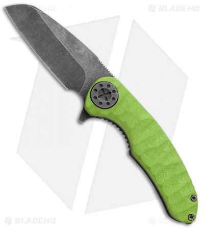 "Curtiss Knives F3 Wharncliffe Frame Lock Knife Carved Toxic (3.25"" Smokewash)"
