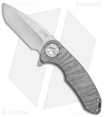 "Curtiss Knives F3 Medium Frame Lock Knife Tiger Titanium (3.25"" Stonewash)"