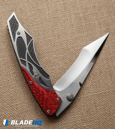 "Dew Hara Custom Ni Liner Lock Knife Black/Red/Silver (3.75"" Mirror) Japan"