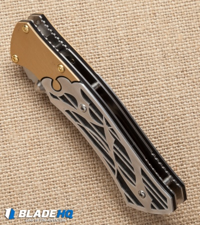 "Dew Hara Custom Shi Liner Lock Knife Bronzed/CF (3.75"" Mirror) Japan"