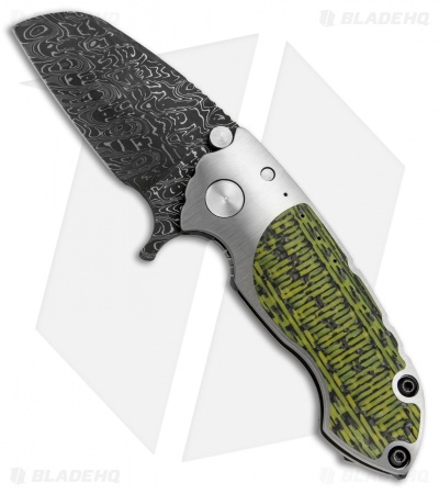 "Direware S-90 Flipper Knife Full Ti w/ Yellow-Black CF (3"" Damascus)"