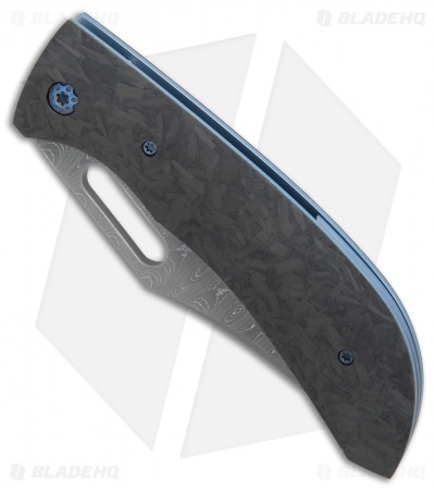 "Doyle Knives Custom Corsair Liner Lock Knife Carbon Fiber (3.875"" Damascus)"