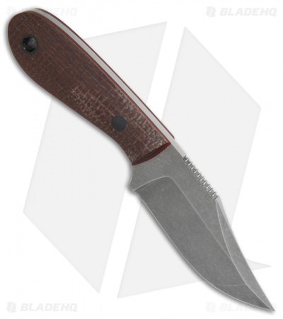 "Doyle Knives Mini Bowie Fixed Blade Knife Burlap Micarta (3"" Acid SW)"