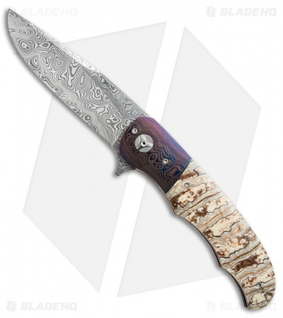 "George Muller LL-BB Flipper Knife Mammoth Molar/Damascus (3.75"" Damasteel)"