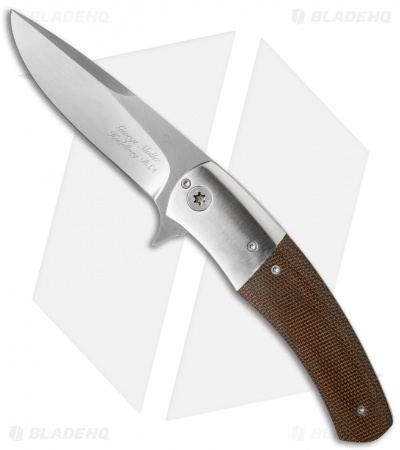 "George Muller LL-GG Flipper Knife Brown Polished Micarta/Titanium (3.25"" Satin)"