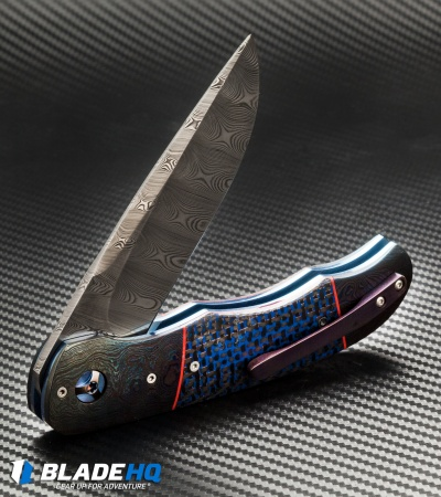 "George Muller LL-BB Flipper Knife Blue LSCF/Damascus (3.75"" Damasteel)"