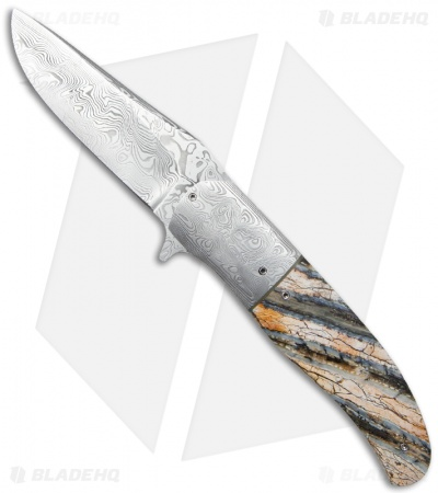 "George Muller LL-HH Flipper Knife Mammoth Molar (3.375"" Damasteel)"