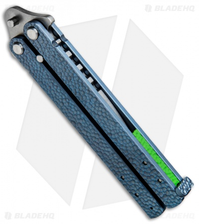 "Groniger Knives Custom Balisong Knife Blue Sculpt Ti w/ Green Spacers (4"" SW)"