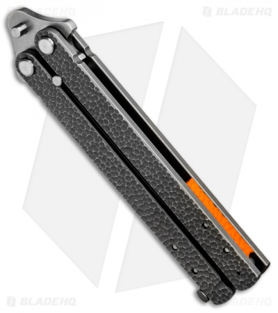 "Groniger Knives Custom Balisong Knife Sculpted Ti w/ Orange Spacers (4"" SW)"