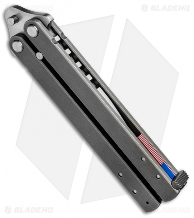 "Groniger Knives Custom Balisong Knife Ti w/ USA Flag Spacers (4"" Hand Satin)"