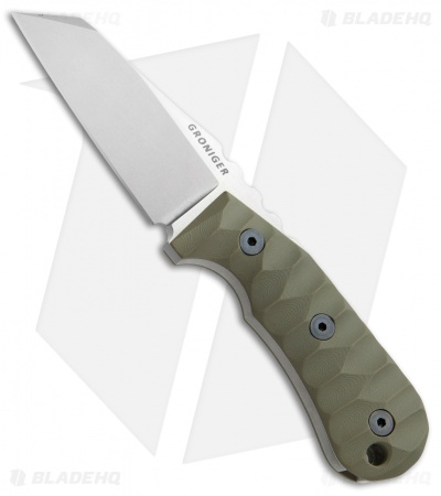 "Groniger Knives Custom Reverse Tanto Fixed Blade Knife OD Green G-10 (3.1"" SW)"