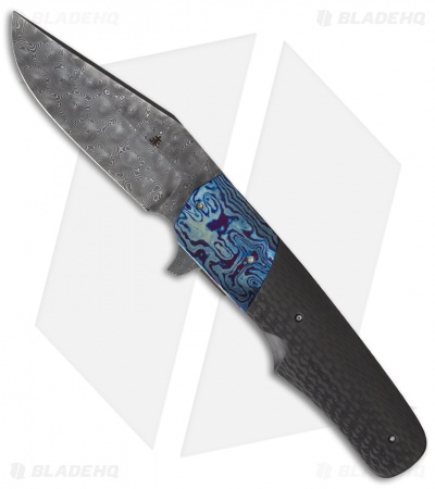 "Jason Clark Custom Wombat Flipper Knife Carbon Fiber/Timascus (3.6"" Damascus)"