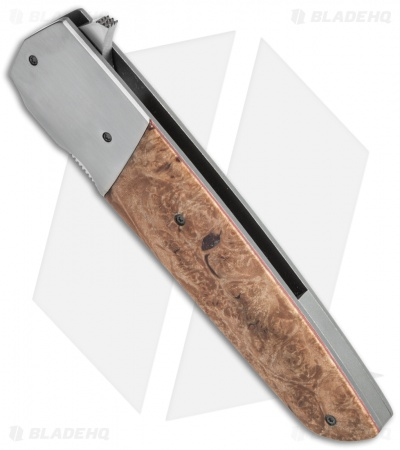 "Jason Clark Custom Standard Flipper Knife Maple Burl (3.625"" Satin)"