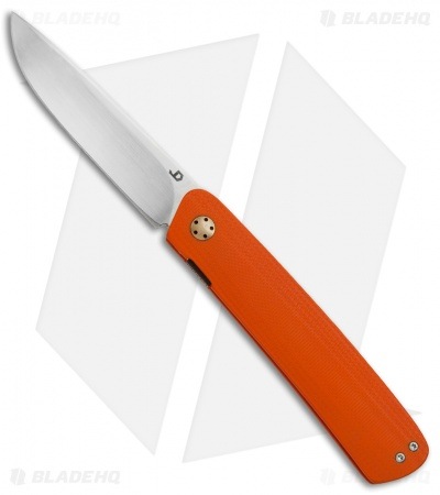 "JD van Deventer Pinstripe Front Flipper Knife Orange G-10 (2.875"" Satin)"