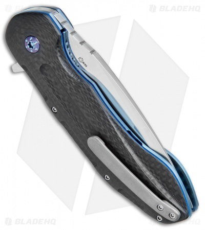 "JD van Deventer Kenpachi Flipper Knife Carbon Fiber/Blue Ti (3.25"" Satin)"