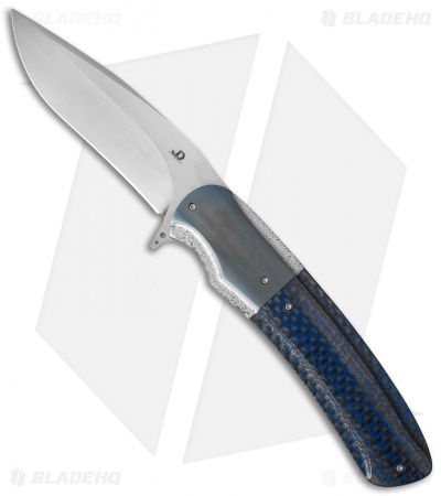 "JD van Deventer CRUZ Flipper Liner Lock Knife Blue LSCF/Zirconium (3.75"" Satin)"