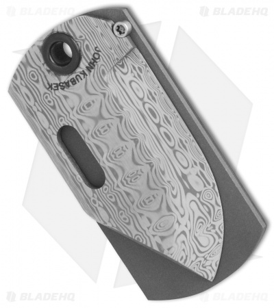 "Kubasek Mag-Tag Folder Dog Tag Knife Carbon Fiber (1.75"" Damascus)"
