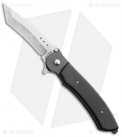 "John Kubasek Fighting Tanto Recurve Flipper Knife Carbon Fiber (3.5"" Damasteel)"