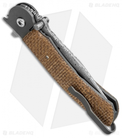 "John Kubasek Custom Modified Tanto Flipper Knife Burlap Micarta (3.5"" Damasteel)"