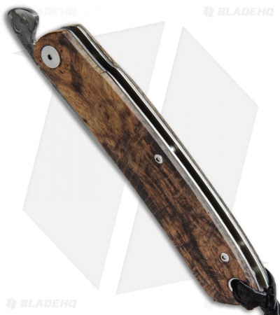 "Kansei Matsuno Custom DB07 Friction Folder Knife Burl Wood (3"" Damascus)"