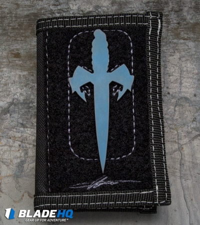 Marfione Custom Assailant Credit Card Knife Antique Blue Ti & Bi-Fold Wallet