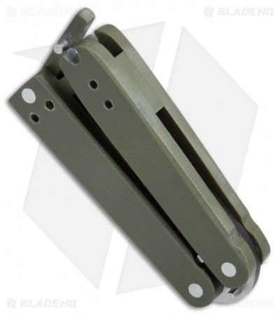 "Nathan Dewey Custom Gremlin Mini Balisong Knife OD Green G-10 (2"" Satin) #4"
