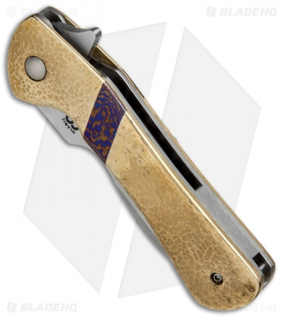 "Olamic Cutlery Gambit Liner Lock Knife Hammered Brass (3"" Satin) G025"