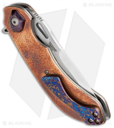 "Olamic Cutlery Wayfarer Compact Knife Copper/Timascus (3.5"" Mirror ) WC300"