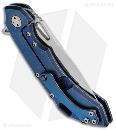 "Olamic Wayfarer 247 Frame Lock Knife Blue SW Ti Polished Holes (3.5"" M390 Satin)"
