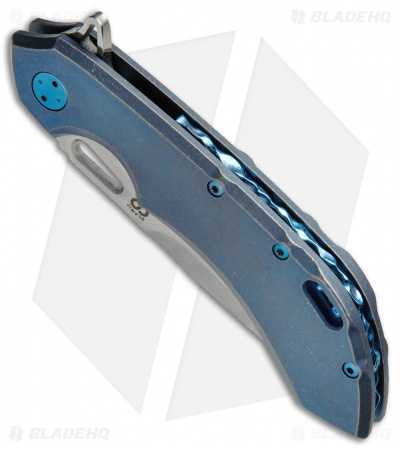 "Olamic Wayfarer 247 Knife Blue SW Ti Sculpted Backspacer (3.5"" M390 Satin)"