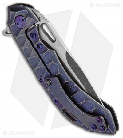 "Olamic Wayfarer 247 Knife Purple SW Sculpted Titanium (3.5"" M390 Acid Wash)"