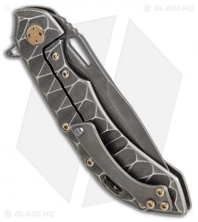 "Olamic Wayfarer 247 Knife Sculpted PVD Ti w/ Gold HW (3.5"" M390 Black SW)"