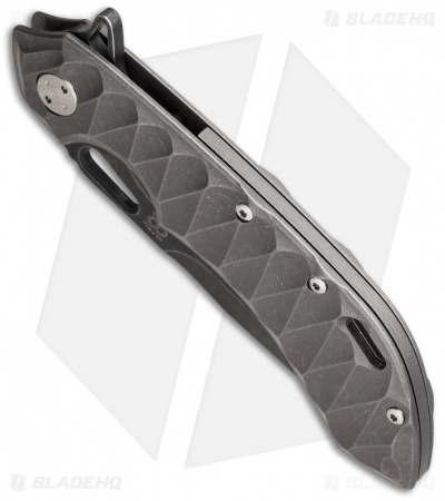 "Olamic Wayfarer 247 Frame Lock Knife Sculpted Bronzed Titanium (3.5"" Black PVD)"