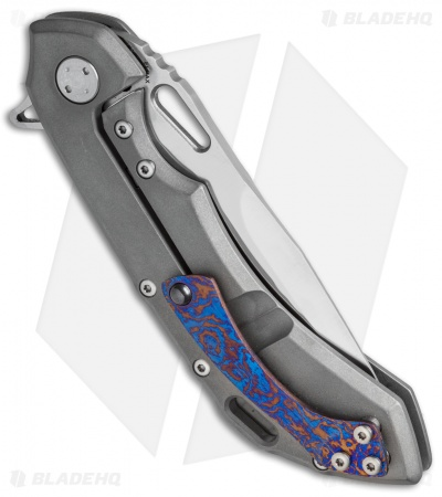"Olamic Wayfarer 247 Frame Lock Knife Titanium w/ Timascus Inlay (3.5"" Satin)"