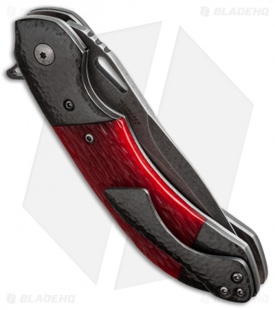 "Olamic Cutlery Wayfarer Compact Flipper Knife Red Jigged Bone (3.5"" Black SW)"