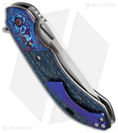 "Olamic Cutlery Wayfarer Compact Flipper Knife Blue Twill CF (3.5"" Satin)"