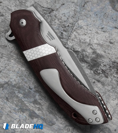 "Olamic Cutlery Wayfarer Flipper Knife Red Micarta (4"" Acid SW) W943"